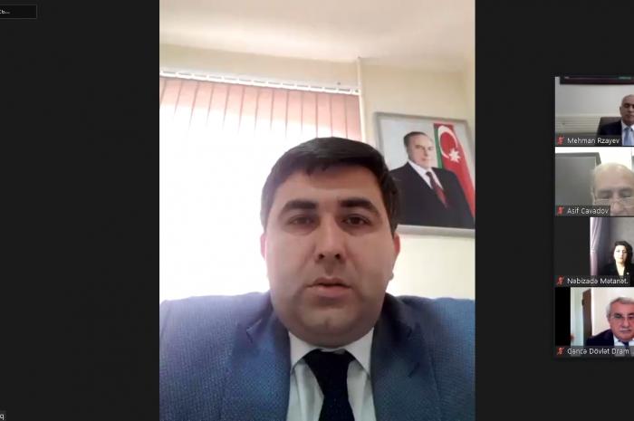 """YAP Gəncə şəhər Təşkilatı """"Heydər Əliyev müstəqil Azərbaycan dövlətinin banisidir"""" adlı video konfrans təşkil edib"""